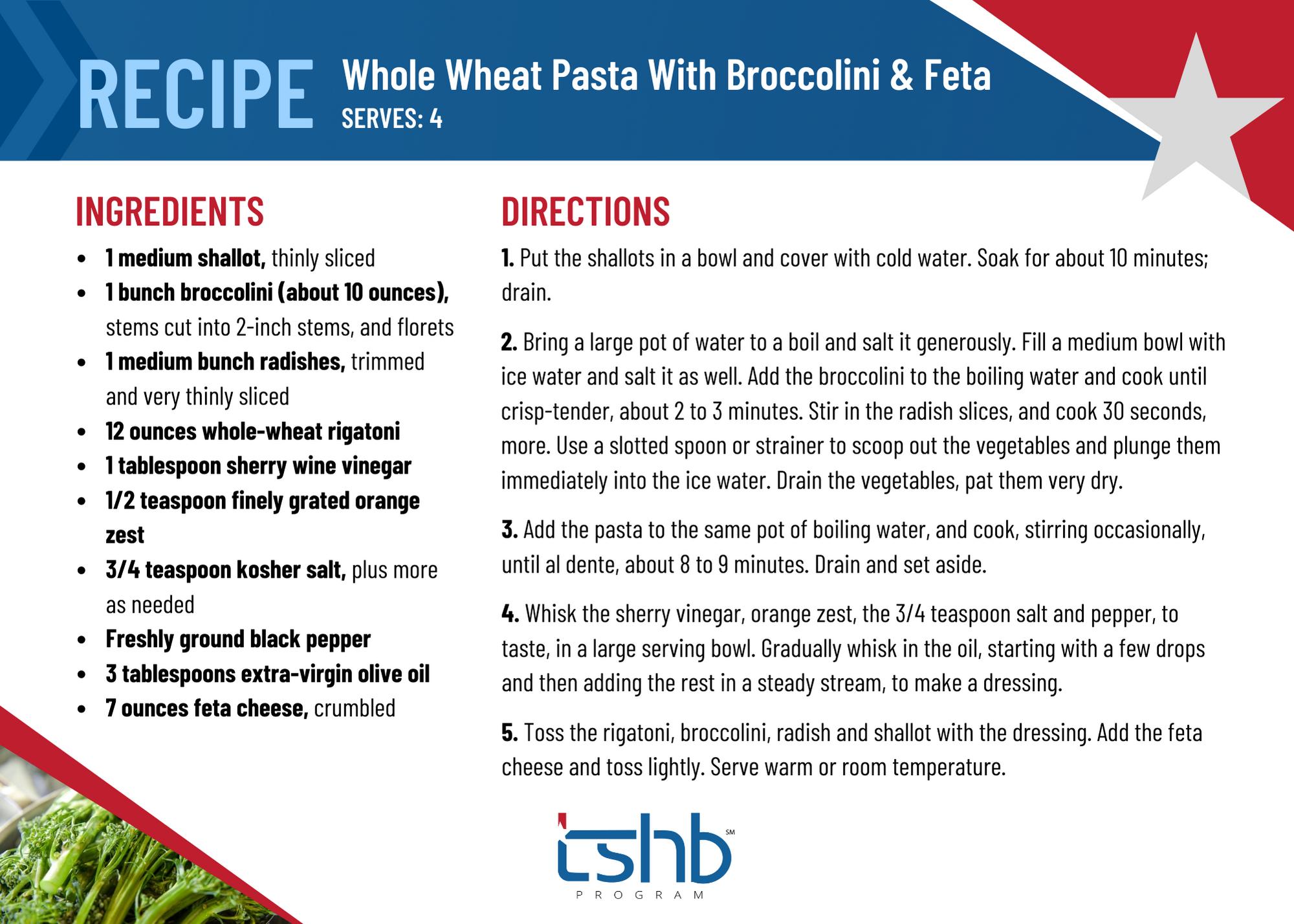 Healthy Recipe broccolini whole wheat